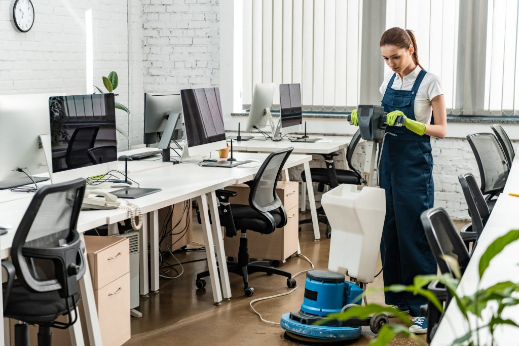 Office Cleaning Sunshine Coast - woman cleaning an office